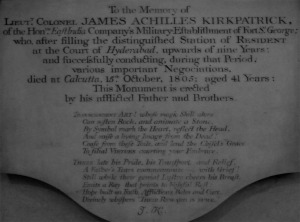 Memorial to James Achilles Kirkpatrick, The White Mughal
