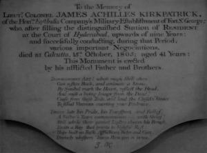 Memorial to James Achilles Kirkpatrick, The White Mughal