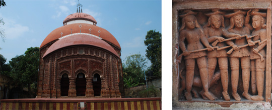 Left: Radhagobinda Temple, Aatpur (Antpur). Right: Panel of European Soldiers