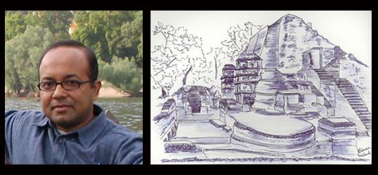 Left: Author Right: An author's sketch of Nalanda
