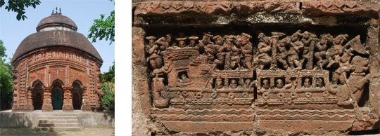 Left: Rajrajeshwar Temple, Darhawta. Right: Panel of ship