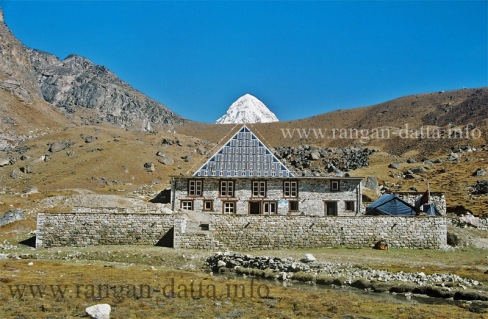 The Glass Pyramid at Lobuche, with Mt. Pumori in the backdrop