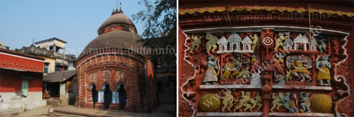 Left: Sridhar Damodor Temple Complex, Right: Multi coloured Terracotta
