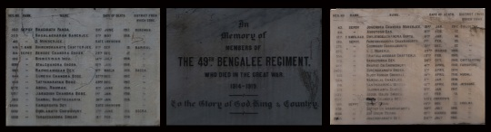Middle: Main inscription of Bengali War Memorial; Left & Right: Name List
