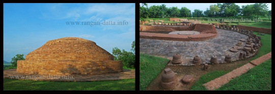 Left: Giant stupa, Lalitgiri; Right: U – shaped Chaityagriha