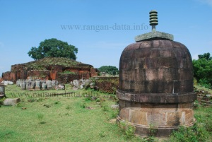 A small stupa, with giant stupa in background, Ratnagiri.