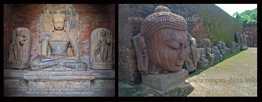 Left: Buddha; Right: Scattred artifacts