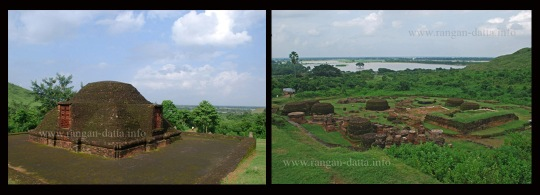 Left: Giant Stupa, Udaygiri; Right: Scattered ruins Udaygiri.