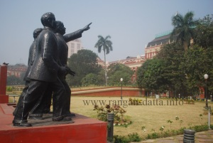 Statue of Benoy, Badal & Dinesh in front of Writers' Building