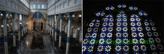 Beth El Synagogue (Left: Interior, Right: Stained Glass)