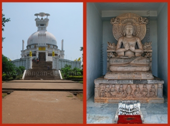 Left: Dhauli Peace Pagoda, Right: Buddha statue Dhauli