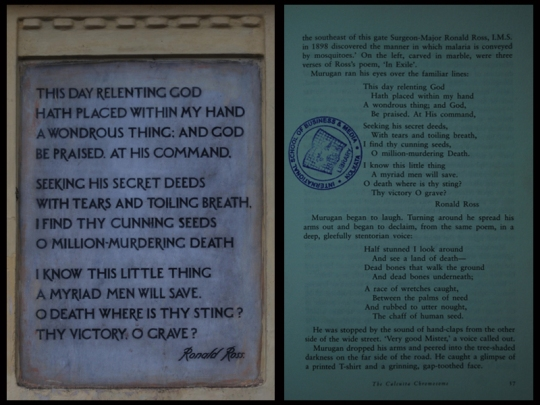 Left: Inscription from Roanld Ross memorial; Right: A page fro Calcutta Chromosome showing the inscription
