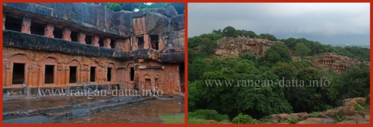 Left: Ranigumpha, Udayagiri, Right: Scattered caves of Udayagiri, from Khandagiri