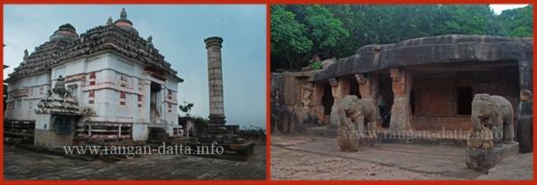Left: Hindu Tempel atop Khandagiri, Right: Ganeshgumpha, Udayagiri