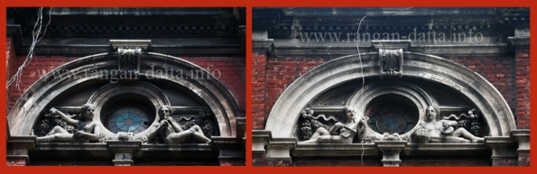 Stucco work of Musician, window arch, Standard Life Assurance Building