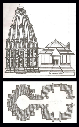 Longitudunal cross - section (above) and floor plan (below) of Raja - Rani Temple, Bhubaneswar (Sketch courtsy: Narayan Sanyal)