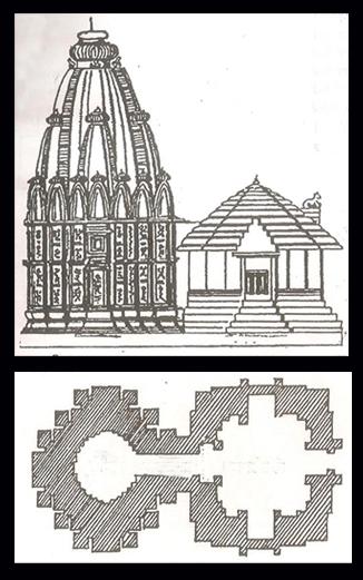 Longitudunal cross - section (above) and floor plan (below) of Raja - Rani Temple, Bhubaneswar (Sketch courtsy: Narayan Sanyal)