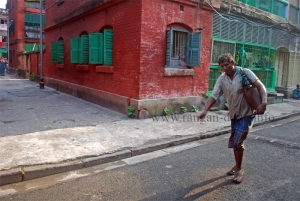 A Bhisti (water seller) in Bow Barracks, Calcutta (Kolkata)