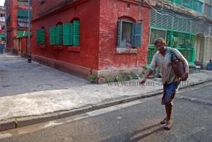 A Bhisti (water seller) in Bow Barracks, Calcutta (Kolkata)