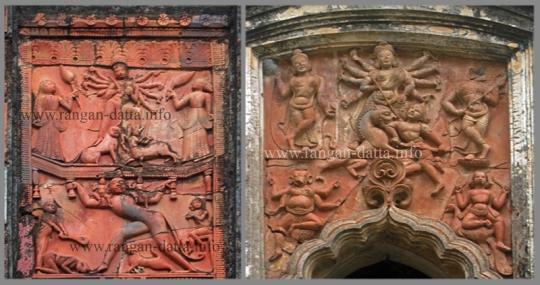 Left: Radha Damodar Temple, Chototaraf; Right: Rashmancha, Borotaraf, Hadal -  Naranpur, Bankura