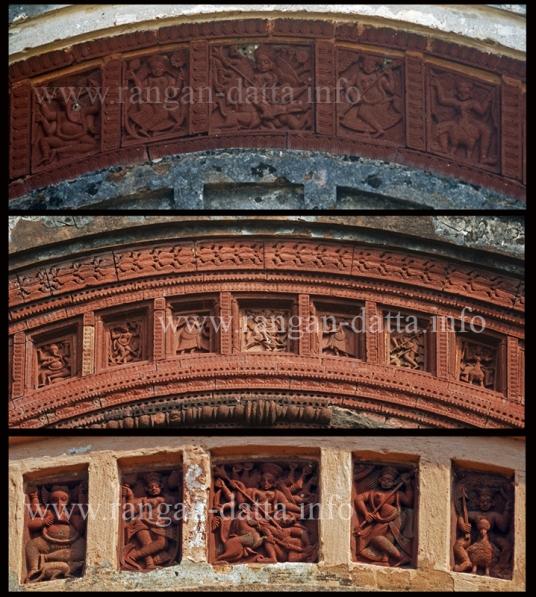 Maluti Mahisasuramardini Durga, a compilation of three arch panels
