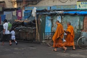 Out of place, Buddhist Monk on Calcutta (Kolkata) street's