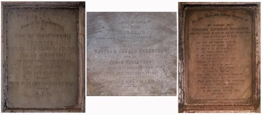 Plaques, Robertson Monument,North Park Street Cemetery, Calcutta (Kolkata)
