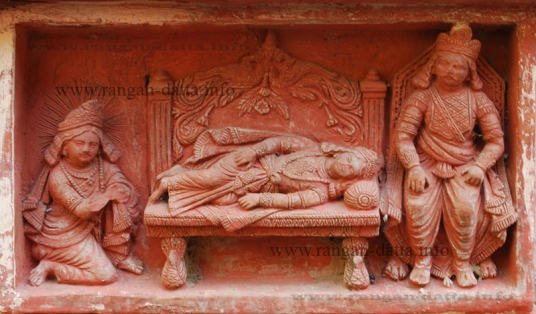 Duryodhana and Arjun waiting for Krishna to wake, Gopinath Temple, Dasghara
