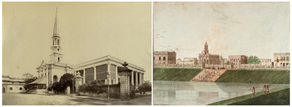 Left: Mission Church (1880s photo). Right: Mission Church with Lal Dighi (Thomas Daniell, 1786)