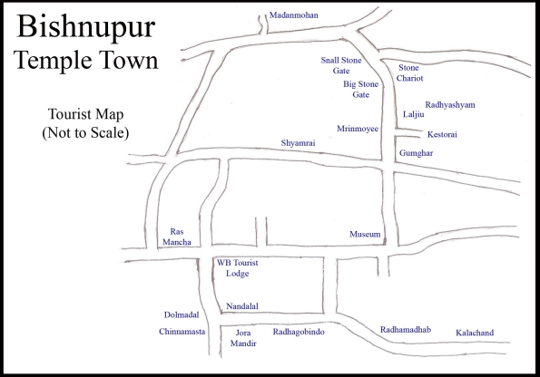 Bishnupur, Temple Town, Tourist Map (not to scale)