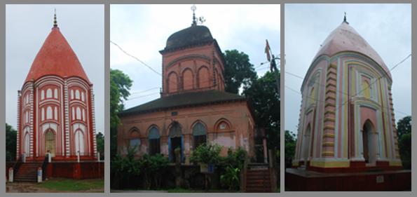 Shivnibas Temples (L: Rajrajeshwar, M: Ram Sita, R: Ragnishwar)