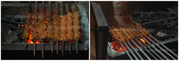 Sutli Kabab or Suta Kabab on the barbecue pit