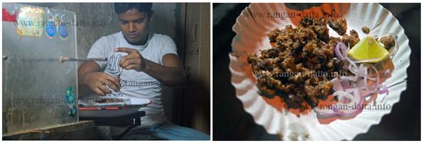 L: removing the suta or sutli (thread). R: A plate of Sutli or suta Kabab