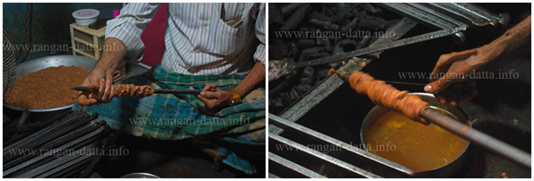 L: Sutli Kabab being wrapped around skewers. R: The thread being rolled over the meat