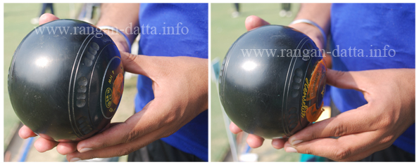 Lawn Bowls' Grip (L: Backhand, R: Forehand)