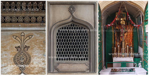 L: Koranic Inscription, M: A window with screen (jali), R: Holy Shrine at the base