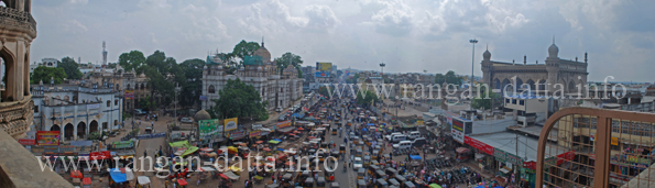 Panoramic View (with Mekka Masjid) from first floor of Charminar, Hyderabad