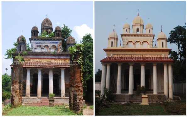 Nistarini Kali Temple, Sukhria, Old (L) and New (R)