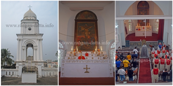 Armenian Church of St. John, the Baptist (L: Clock Tower, M: Alter, R: Mass in progress)