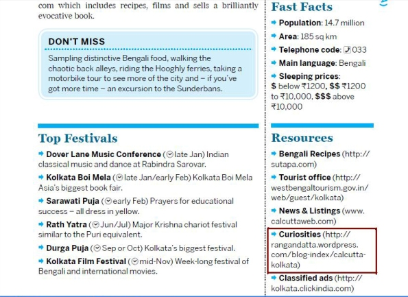 Screen shot of the PDF copy of Lonely Planet Guide India. My Blog highlighted by red box