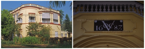 L: Commissioner House, Chinsurah (Chuchura). R: VOC (Dutch East India Co.) Logo