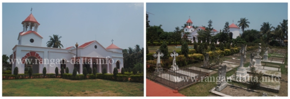 L: Holy Trinity Armenian Church, Tangra, Kolkata. R: Graveyard with the church