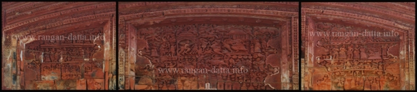 Terracotta Panels Lakshmi - Janardhan Temple (L: Court of Rama, M: Rmama Ravana War, R: Court of Ravana)