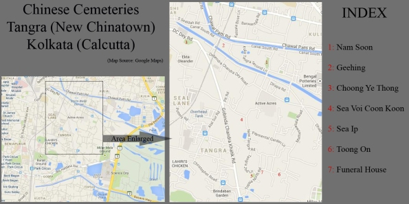 Map of Chinese Cemeteries, Tangra, New Chinatown, Kolkata (Source: Google Maps)