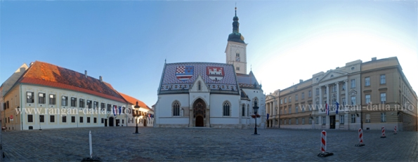 St. Mark's Church, St. Mark's Square, Zagreb, flanked on the left by Government Building, and on the right by Croatian Parliament