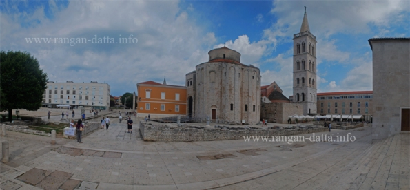The Bell Tower of St. Anastasia's Cathedral, towering behind the St. Donatus Church, Zadar