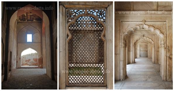 L: Arch of Zafar Mahal. M: Jali Work Moti Masjid. R: Arches of Moti Masjid