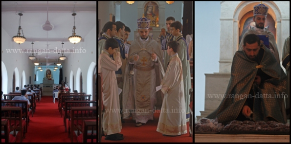 Blessing of the grapes ceremony (L: Inside the Holy Trinity Church, M: Down the Aisle, R: Grapes being blessed)