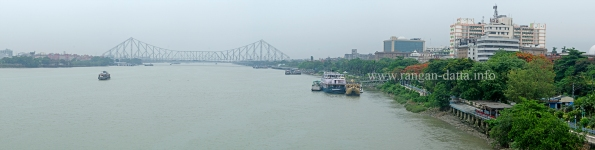Panoramic view of River Hooghly and Howrah Bridge from Flotel