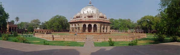 Panoramic view of Isa Khan's Tomb, Humayun's Tomb Complex, Delhi